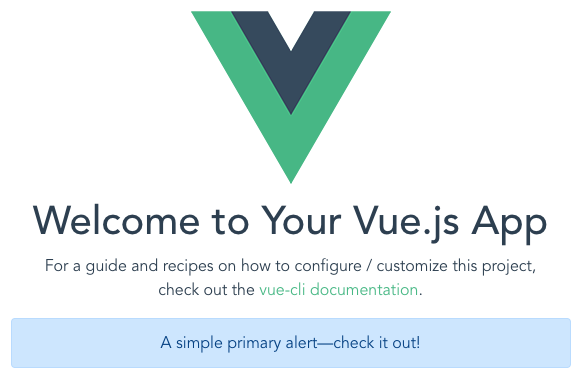 Vue CLI landing page with Bootstrap alert